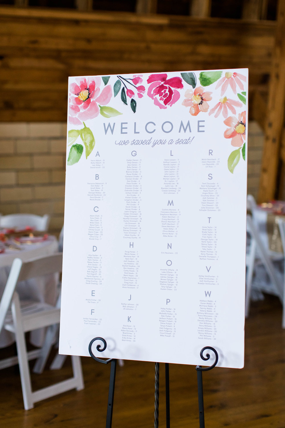 Wedding seating chart by alphabetical order