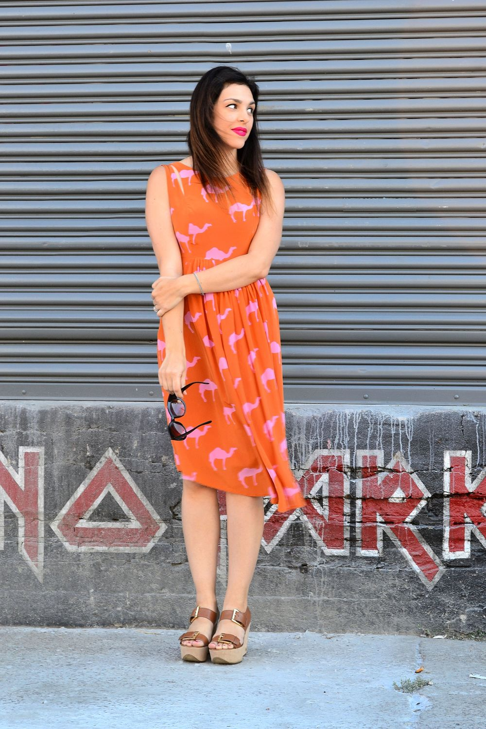 dress- Anthropologie thrifted at Crossroads Trading Co./ sandals- Michael Kors/ sunglasses- Urban Outfitters