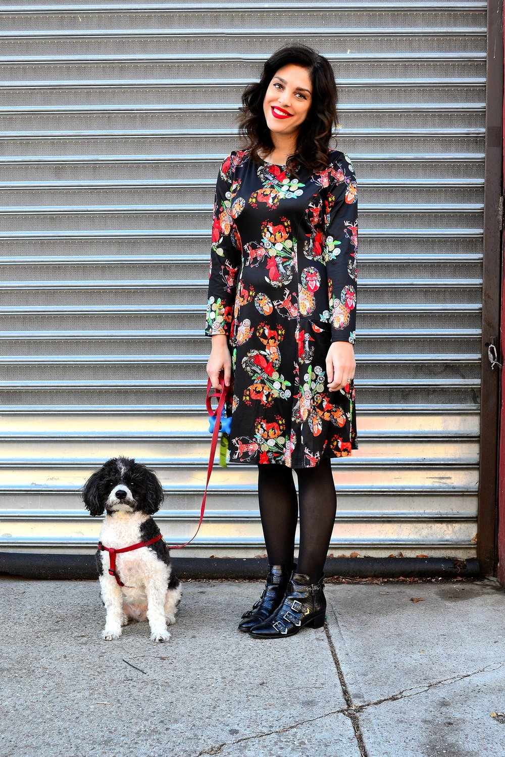 dress- Frock Shop available at ModCloth ,  tights- Express ,  booties- Design Lab available at Lord & Taylor