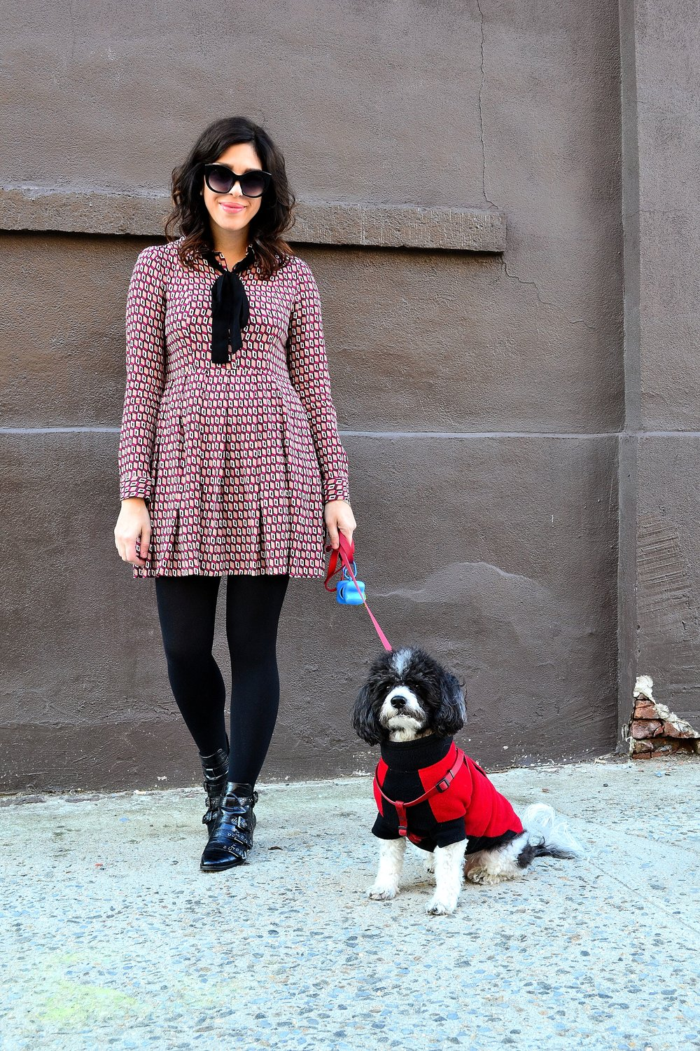 dress: Zara/ fleece lined tights: LOFT/ booties: Design Lab from Lord & Taylor/ sunglasses: Urban Outfitters