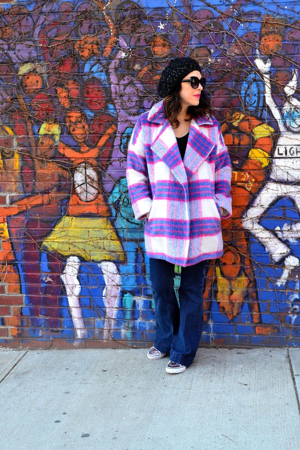 plaid coat- She + Sky, sparkle high top sneakers- Vans, tee- H&M, jeans- Highline Collective, hat and sunglasses- Urban Outfitters