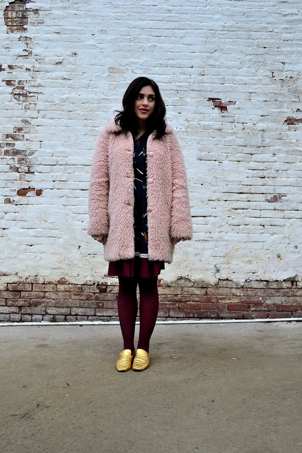 teddy bear coat- Warehouse (bought from  Keiko Lynn 's closet sale),  dress- Miss Patina available at ModCloth , tights- Express,  loafers- c/o LF/LIFE