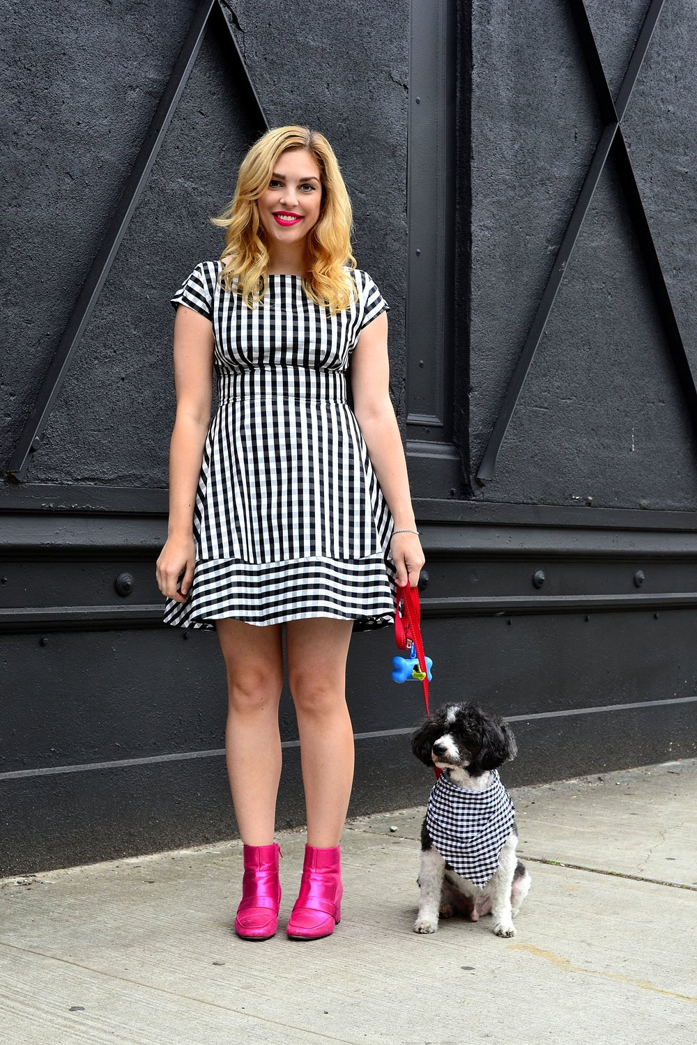 gingham dress- Kate Spade , pink sparkle booties- ASOS