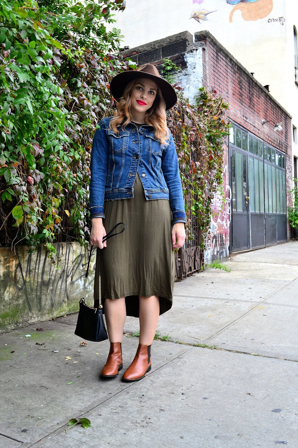 dress- Amazon ,  denim jacket- Zara , hat- Goorin Brothers,  booties- ASOS , purse- H&M