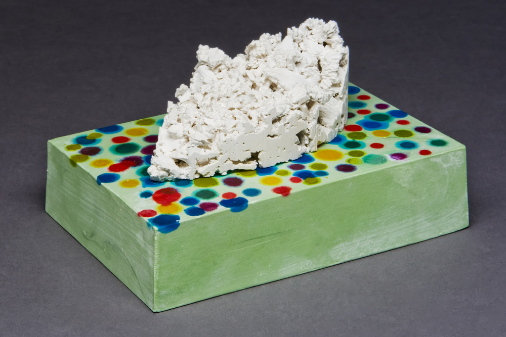 "Sweetsscape Component #1  Porcelain, glass, plaster, stain, wood, MDF, paint, epoxy, pins 4"" x 6"" x 4"" 2011 Photo Credit: Jim Walker"