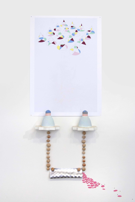 Held Up and Let Loose  Ceramic, digital print, MDF, paper, vinyl Detail 2012