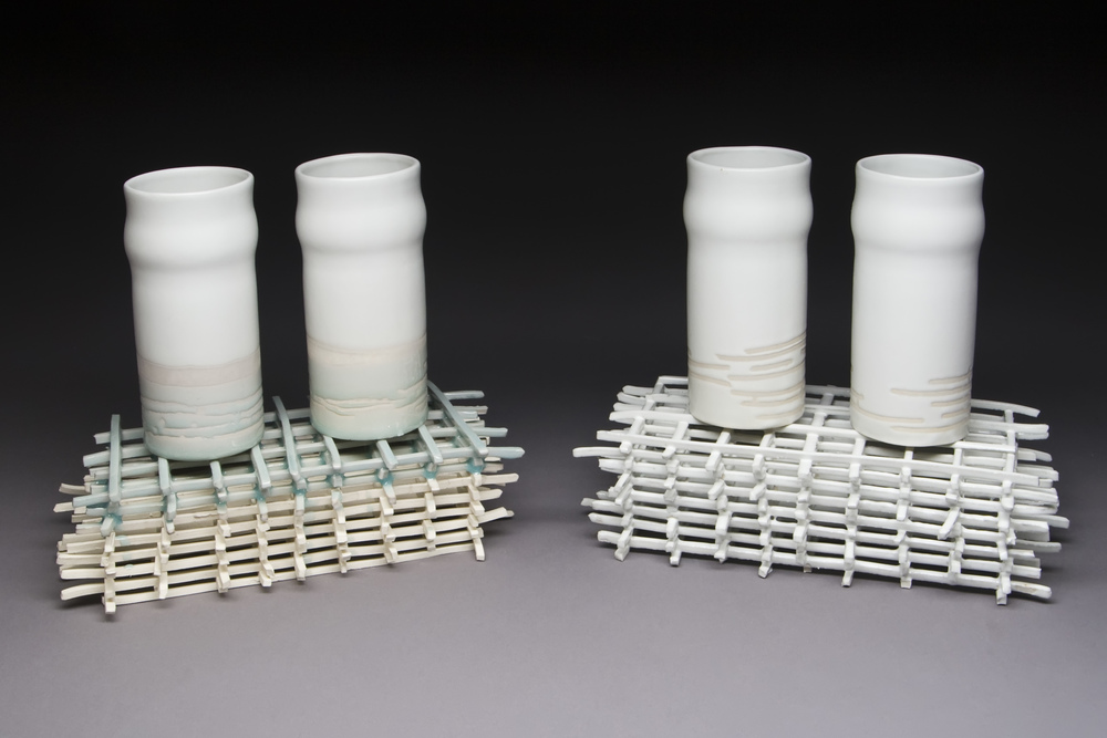 "Cup Sets on Stick Structure Porcelain, glaze 10"" x 9"" x 4.5"" each 2010 Photo Credit: Jim Walker"