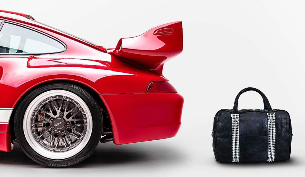 Limited edition collaboration between custom automaker Gunther Werks and bespoke bag brand JAMAH.