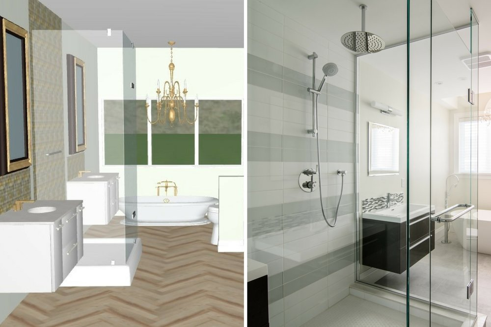Toronto design build home - family bathroom with glass shower - design concept.jjpeg