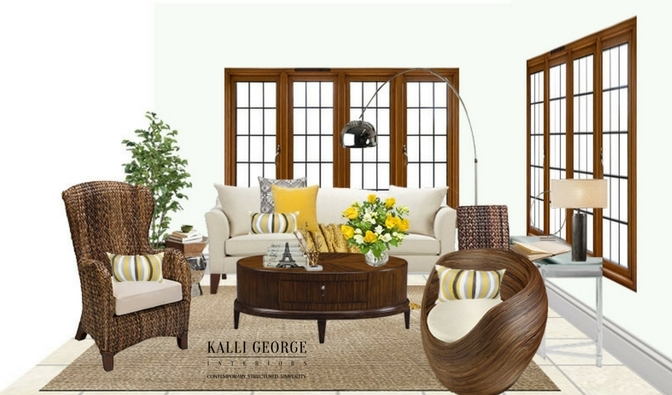 Mississauga living room with cream couch and rattan furniture - yellow accents for bright room.jpeg