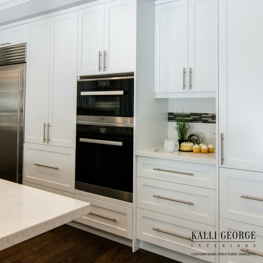 Toronto design build white kitchen with stainless steel appliances - subway tile and mosaic backsplash - wood floor.jpeg