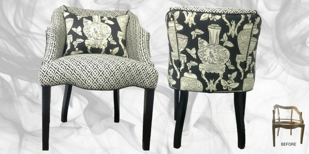 Kalli George Interiors custom furniture - chair with graphic pattern fabric - black legs.jpeg