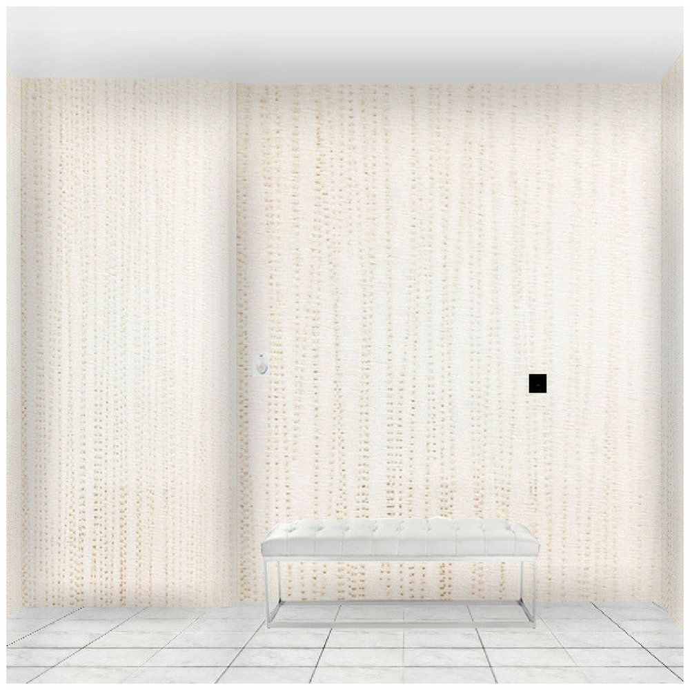 Toronto condo lobby with wallpaper and white leather bench