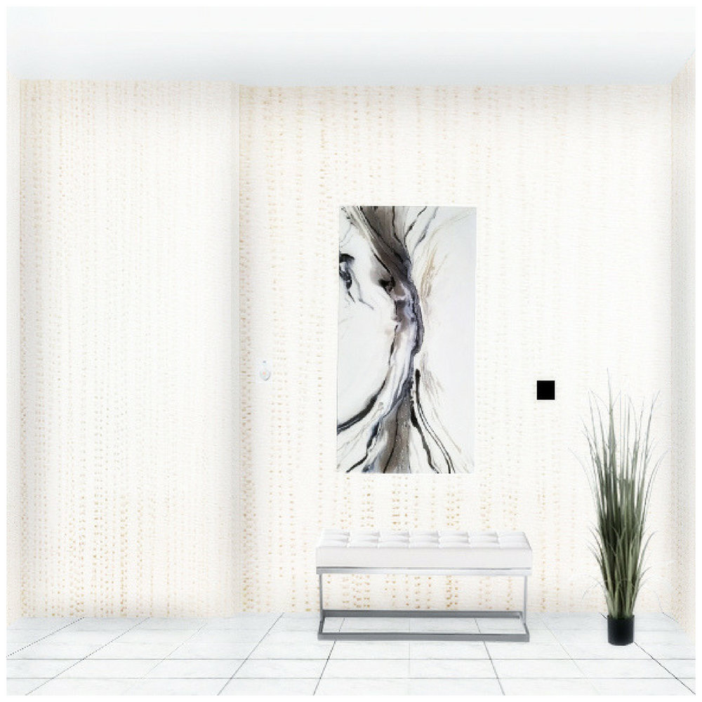 Toronto condo lobby with wallpaper and white leather bench, artificial plant and abstract wall art