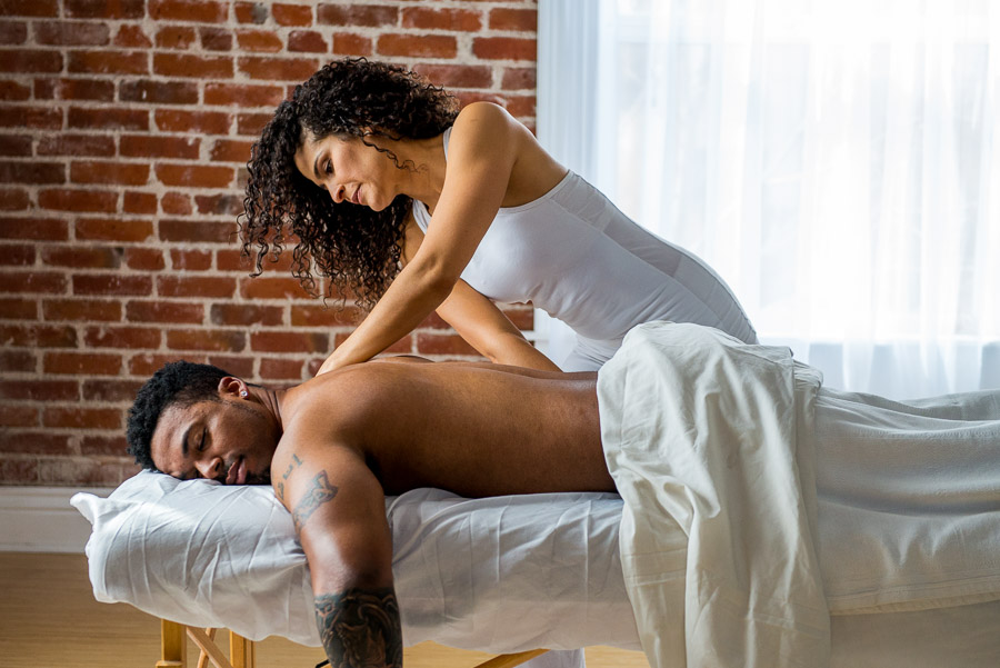 Celeste massage therapy with a man