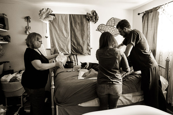 Birth photography at a Denver home