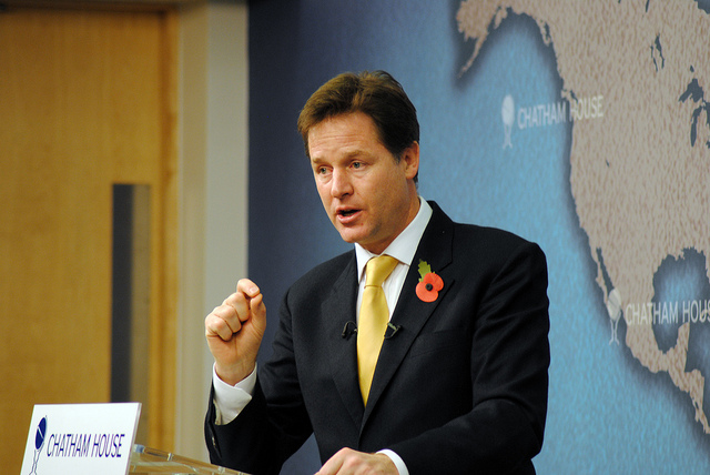 Nick Clegg's Decision to Join the Conservatives in a coalition government was controversial in 2010 and has Cost his party dearly. Chatham House via Flickr  CC
