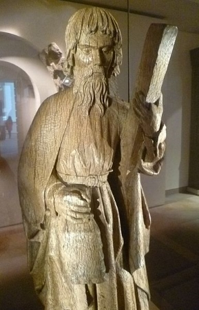 Carving of St. Andrew at the National Museum of Scotland. Image Credit:     Kim Traynor  via  Wikimedia Commons   cc