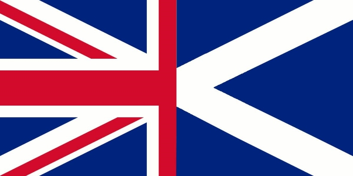 Half and half: Scotland's flag provides one-third of the Union Flag for the United Kingdom. The other two-thirds are St. George's Cross (for England) and St. Patrick's Cross (for Ireland).