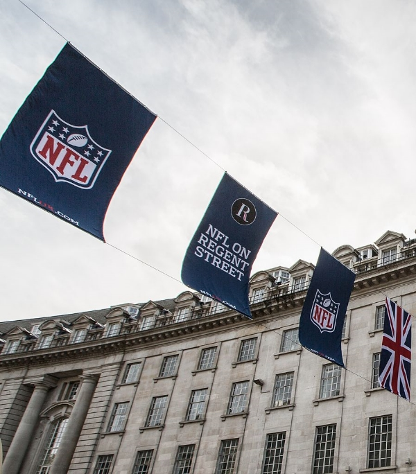 NFL signs gracing Regent Street in London in 2013. Image Credit: Tony Webster via Wikimedia Commons cc