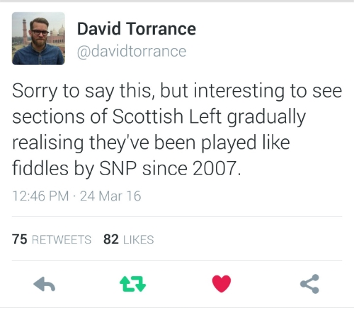 Journalist David Torrance's reaction to those expressing surprise that the SNP is not as left-wing as advertised.