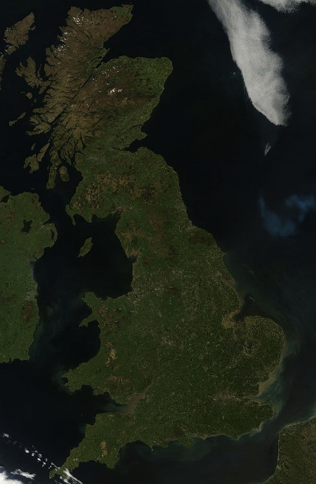 The island of Great Britain, which is actually the ninth-largest island in the world. Image Credit: NASA via  Wikimedia Commons  (Public Domain)