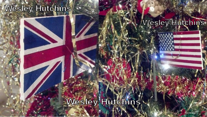 My hand-made Christmas ornament featuring Old Glory on one side and the Union Jack on the other. Image Credit: Wesley Hutchins
