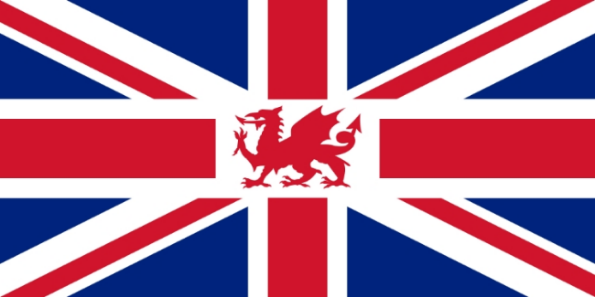 A modified Union Flag with the Welsh Red Dragon included.   Image Credit:    Yes0song    via    Wikimedia Commons     cc