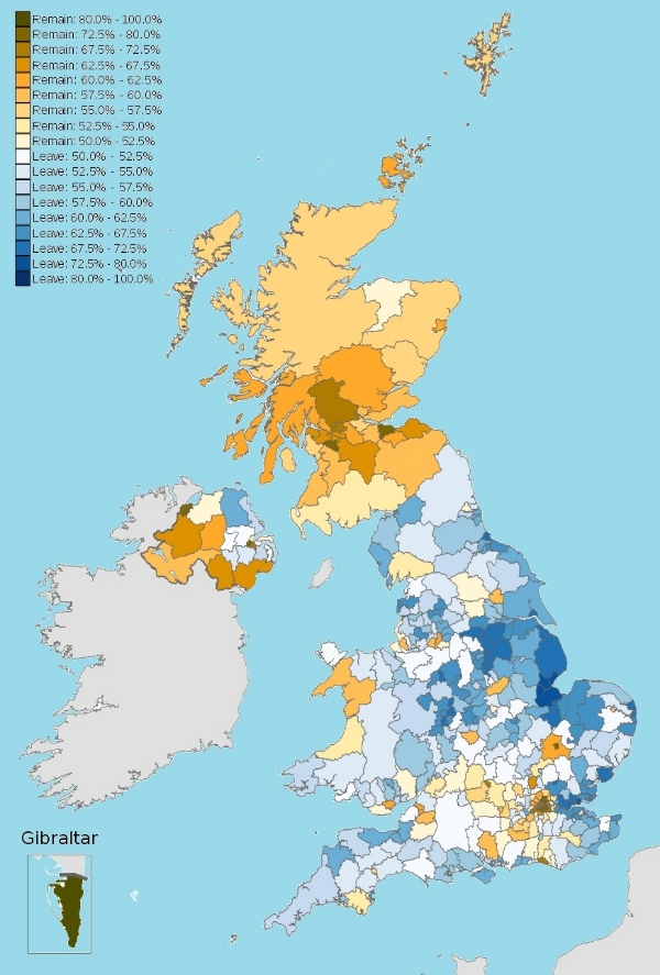 map of the united kingdom displaying the results of the eu referendum via the strength of