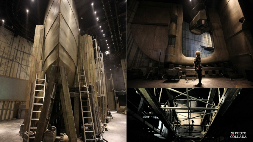 Scale replica sections of  Titanic's  bow and rudder, as well as the Arrol Gantry as part of  The Shipyard  gallery. Image Credit: All Titanic Belfast ( Left ,  Top Right , and  Lower Right ) via  Flickr     CC ; Collage by Wesley Hutchins via Photo Collada