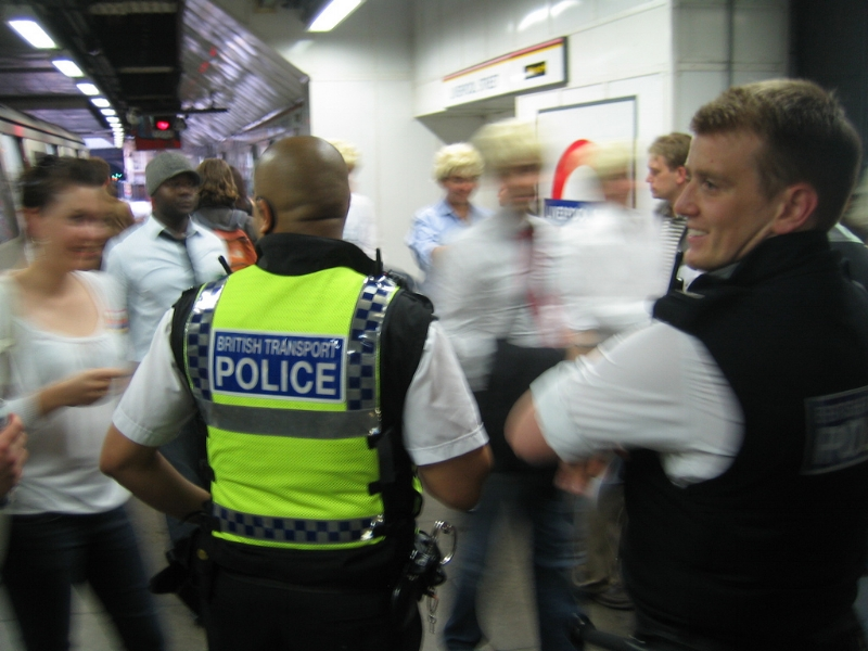 British Transport Police officers on duty in the London Underground. Image Credit:  Gordon Joly  via  Flickr   CC