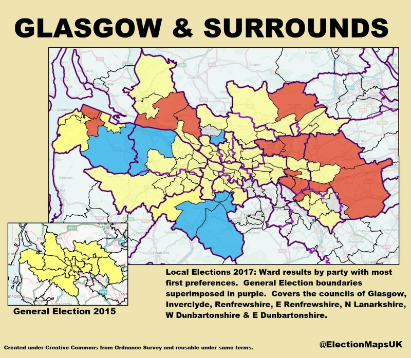 Inverclyde, Paisley and Renfrewshire North, Paisley and Renfrewshire South, East Renfrewshire, West Dunbartonshire, East Dunbartonshire, Glasgow (North West, South West, North, South, Central, North East, and East), Cumbernauld, Kilsyth and Kirkintilloch East, Coatbridge, Chryston and Bellshill, and Airdrie and Shotts. Image Credit: @ElectionMapsUK on Twitter