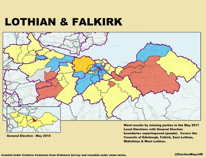 Falkirk, Linlithgow and East Falkirk, Livingston, Edinburgh West, Edinburgh South West, Edinburgh South, Edinburgh North and Leith, Edinburgh East, Midlothian, and East Lothian. Image Credit: @ElectionMapsUK on Twitter