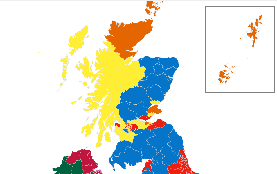 How the political map of Scotland would have looked if the nine most marginal SNP constituencies had voted the other way. Image Credit: BBC; modified by Wesley Hutchins.