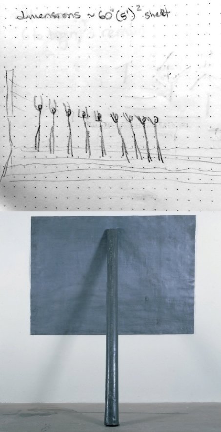 choreographic diagram and photo of Richard Serra's Prop, Whitney Museum collection