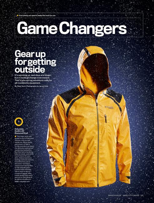 jarren vink men's fitness gear rain jacket columbia yellow