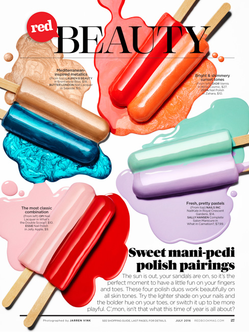 jarren vink redbook magazine nail polish popsicle still life beauty tearsheet