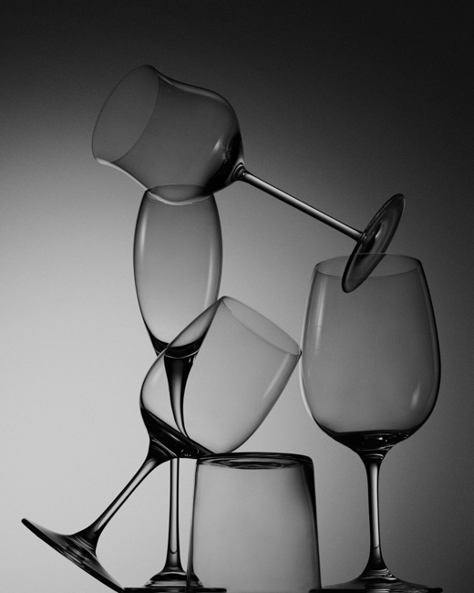 jarren vink still life stemware glass glasses wine black and white