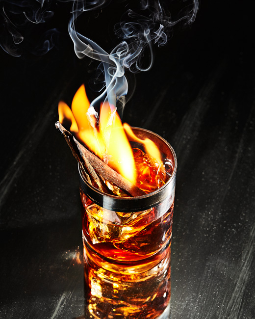jarren vink victoria granof still life cocktail whiskey cinnamon fire flame smoke