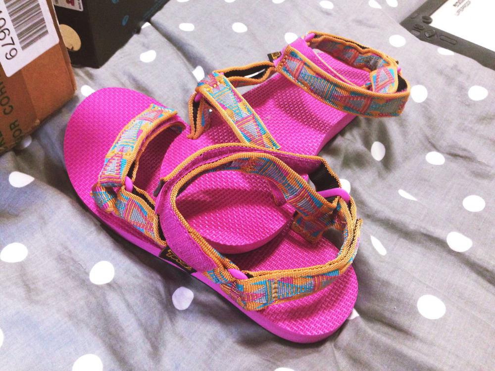 My new shoes came in a few days early. My mom told me to order them for Easter. I know they aren't everyone's style but I think the bright, sunny color and pattern of these sandals is going to keep a smile on my face all summer long at the pool or on the river. Find some that fit your style on Teva's website. These are the Artist Series Mosaic Orange.