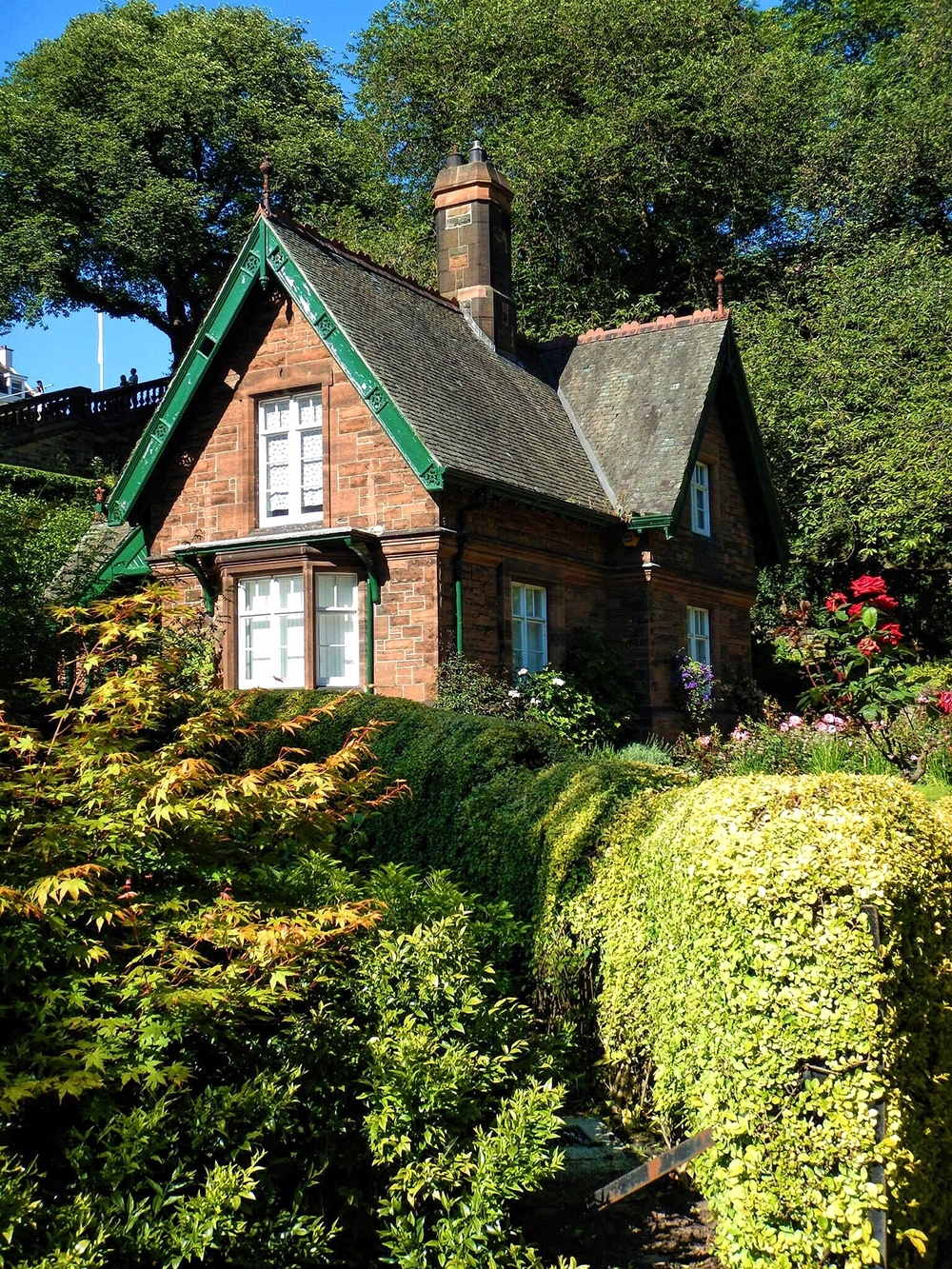 Built by Robert Morham in 1886, the Gardener's Cottage in West Princes Street Gardens is a quaint asymmetrical single story house with a gabled attic. Who wouldn't want to stay there?