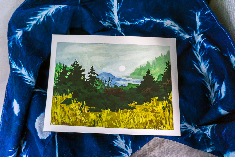 Alyssa Beck landscape print and cyanotype bandana - Augusta, GA local art