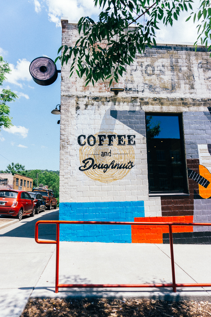 Vortex Doughnuts in downtown Asheville, NC coffee and doughnuts sign
