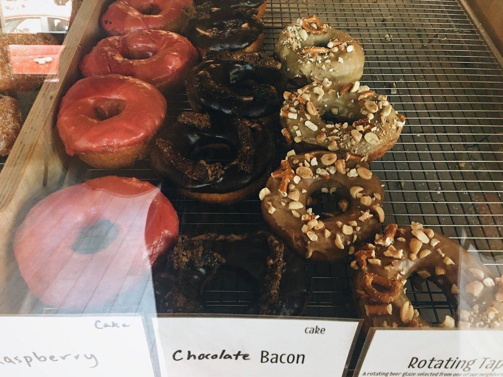 Doughnut selection at Vortex Doughnuts in Asheville, NC