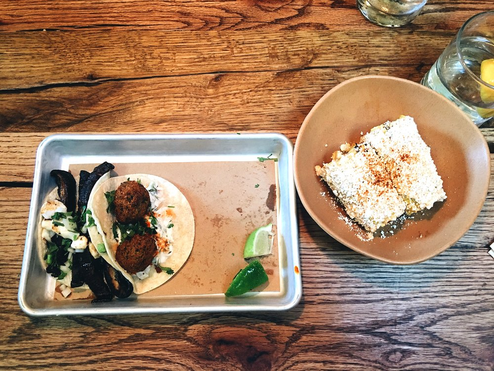 Bartaco portobello and falafel tacos with street corn