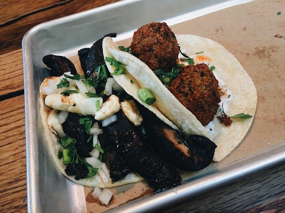 Bartaco portobello and falafel tacos