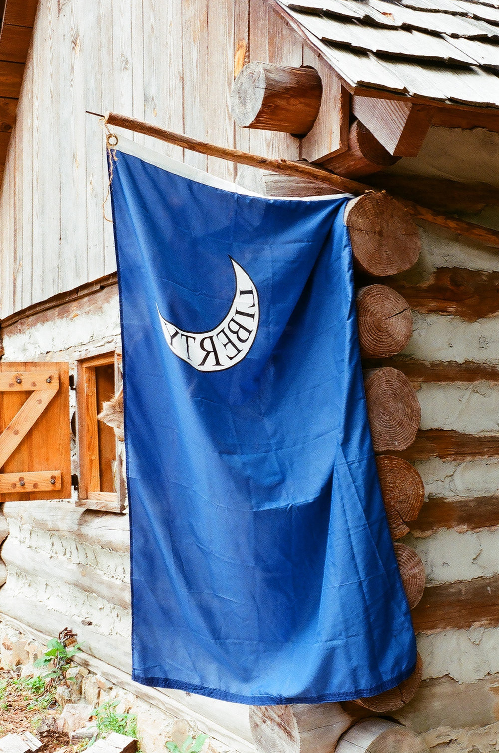 Old SC state flag hanging at the Living History Park in North Augusta