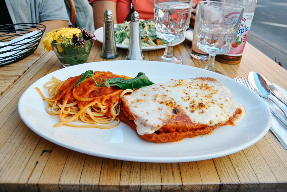 Eggplant parmesan at DeGenarro in Little Italy NYC