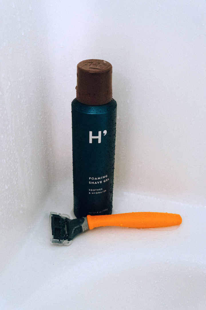 Harry's shave gel and orange Truman razor