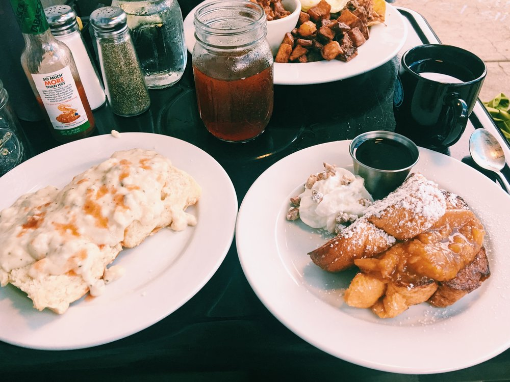 Biscuits and Gravy and French Toast with Peaches from Mama's Boy in Athens, GA